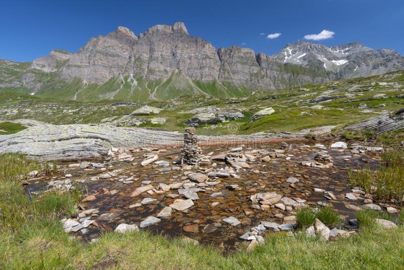 Landscape to the alpine mountains, San Bernardino mountain pass, Switzerland.  stock image