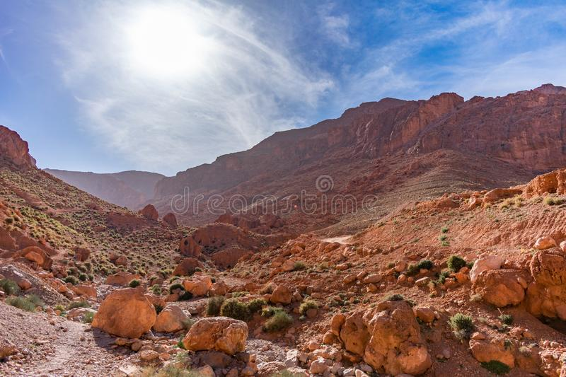 Landscape at Todra Gorge in Morocco with the Sun stock image