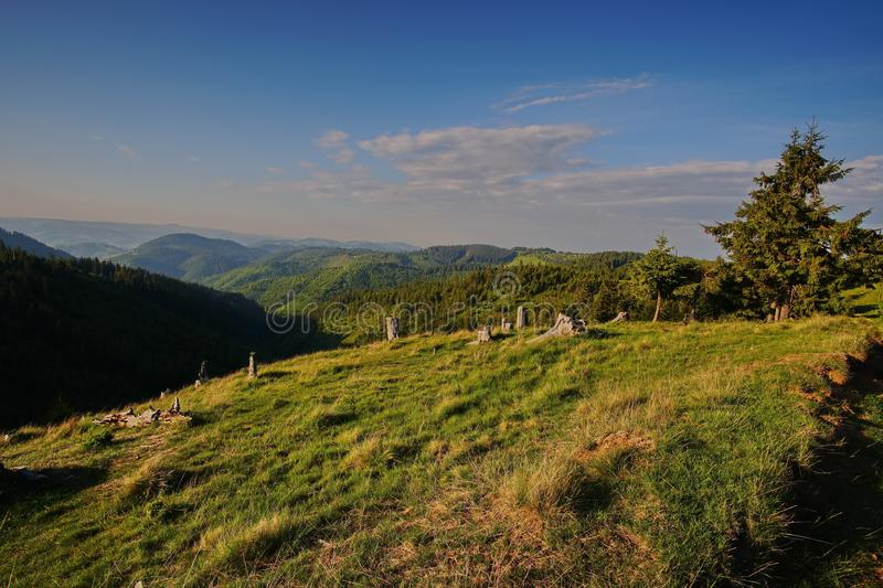 Landscape on the top of the hill 6. Amazing landscape on the top of the hill in the Muntii Ciucului in Transylvania, Romania stock image
