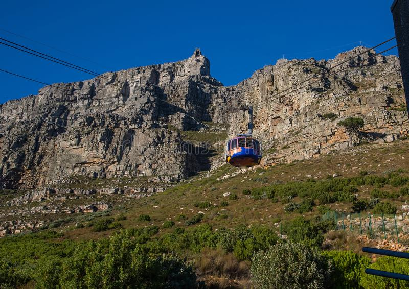 Landscape on top of the table mountain nature reserve in Cape Town at South Africa. In summer royalty free stock photography
