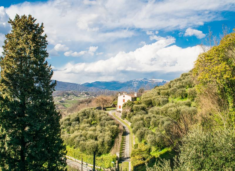 Landscape of the town of Azolo. Italy,15 April 2018,,the village of Asolo 12th century, province of Treviso,spring panorama of a medieval town royalty free stock image