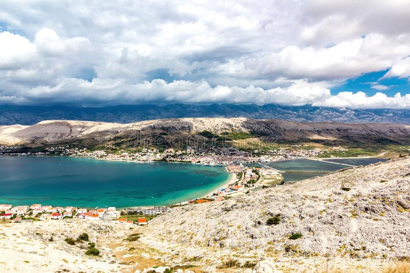 Landscape of Town of Pag, Croatia stock photos