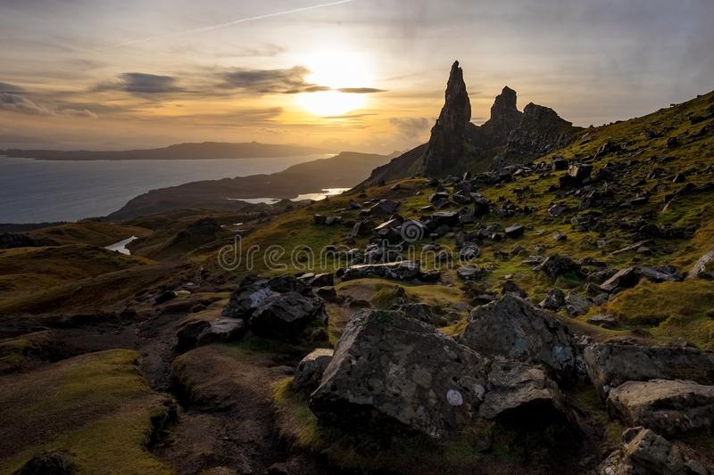 The Landscape Around the Old Man of Storr and the Storr Cliffs, Isle of Skye, Scotland, United Kingdom stock image
