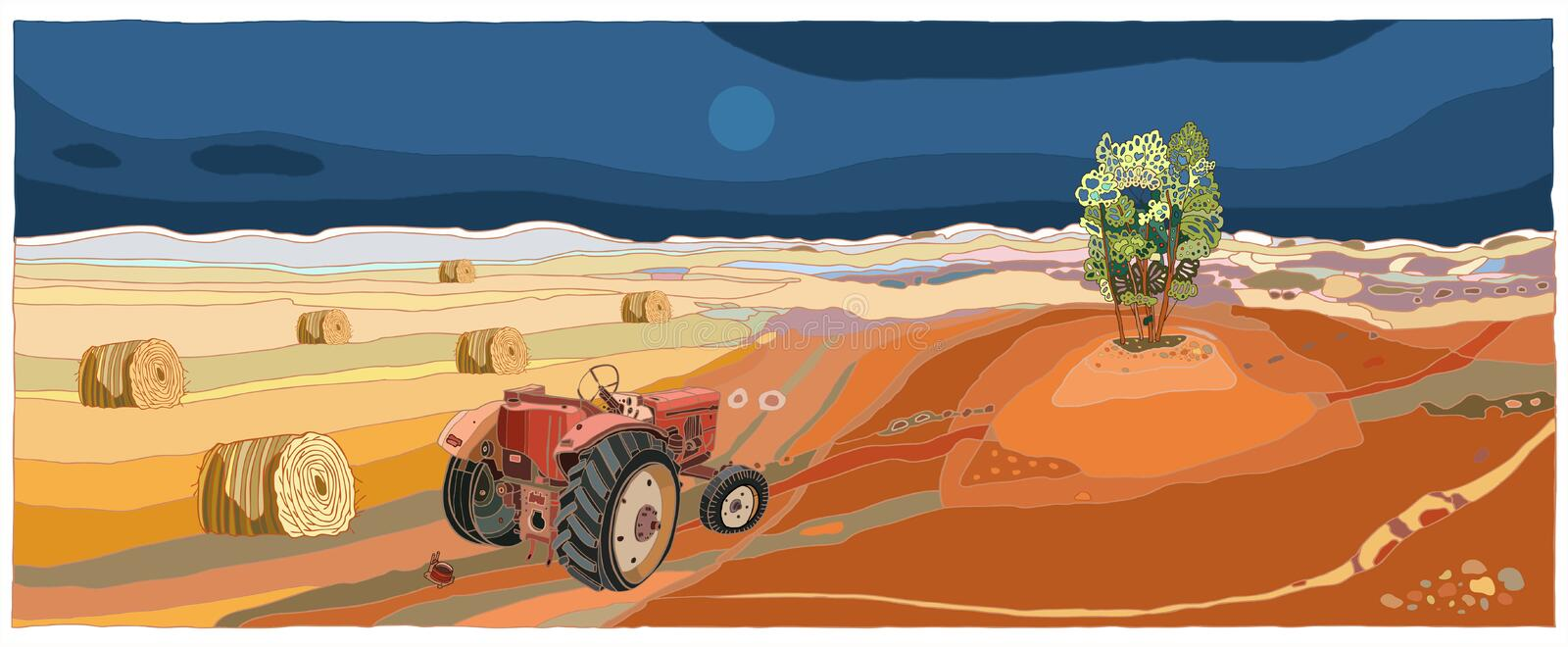 Landscape with tractor. Autumn in Poland. Illustration with tractor stock illustration