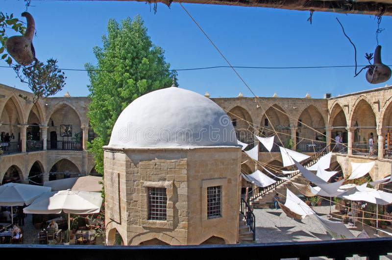 Traditional Turkish caravansary Han, hotel in North Nicosia, Cyprus. Landscape of traditional, Turkish Buyuk (Büyük) Han, hotel in North Nicosia stock photography