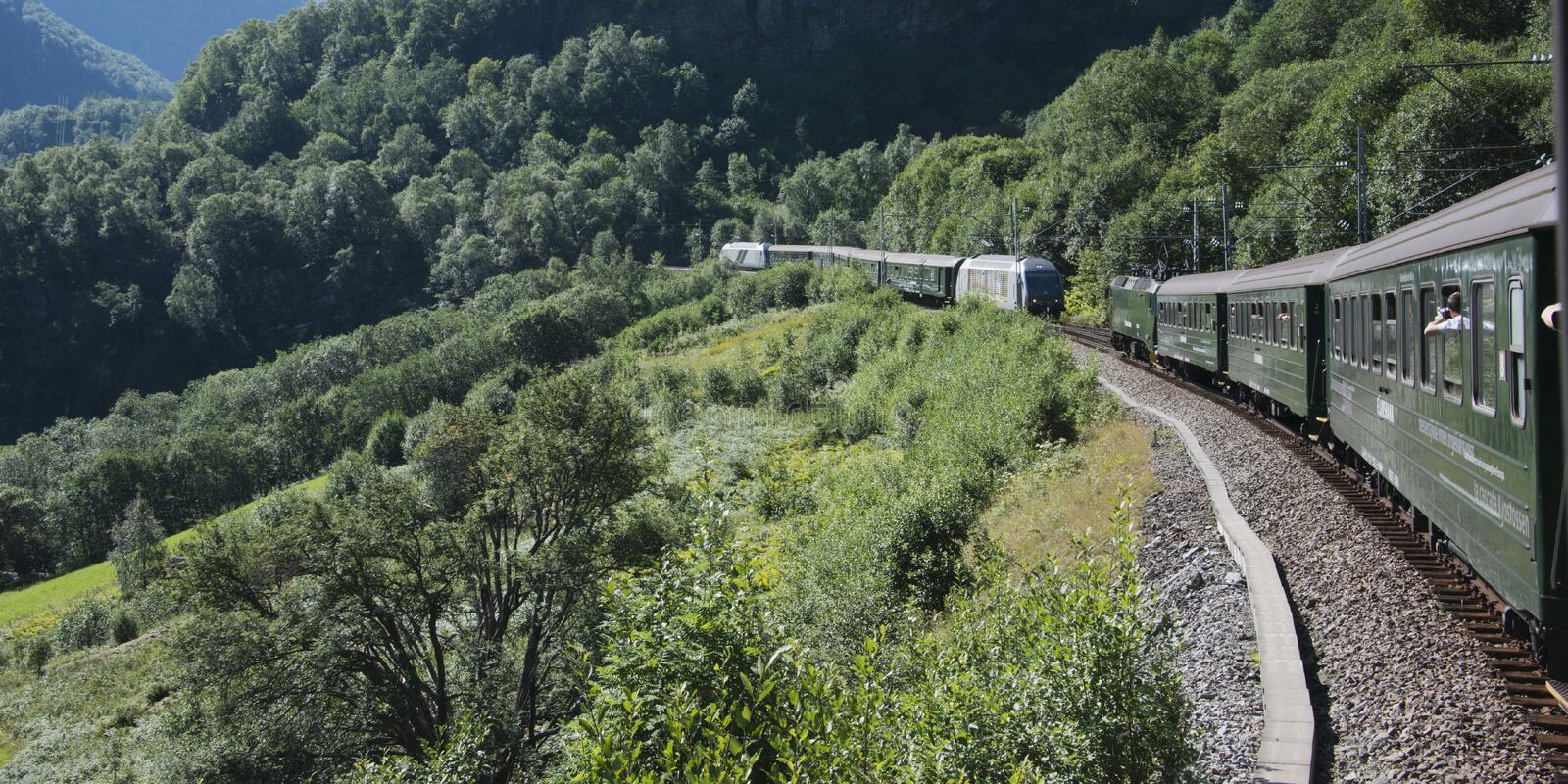 Landscape with trains stock images