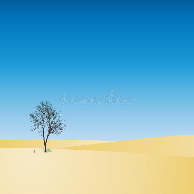 Landscape with Tree vector illustration