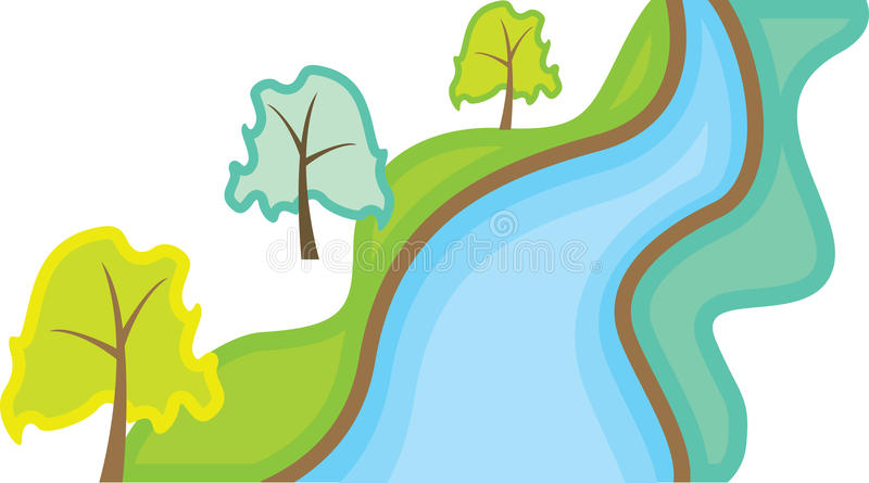Landscape with trees stock illustration