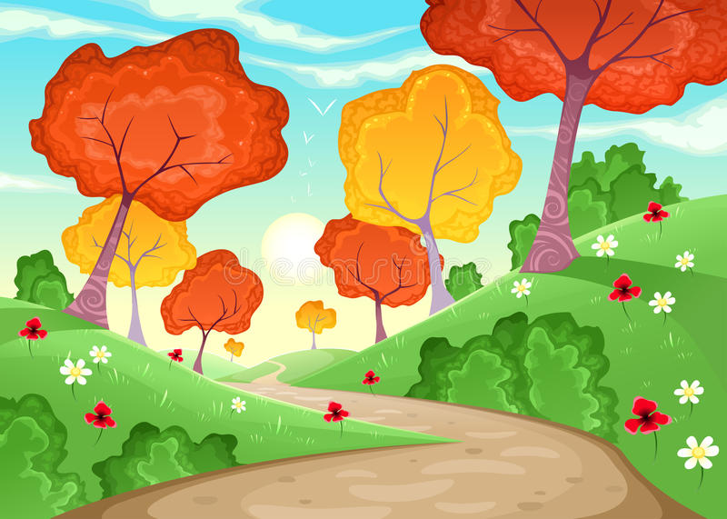 Landscape with trees. royalty free stock photo