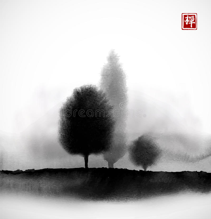 Landscape with trees in fog hand drawn with ink in asian style. Misty meadow. Traditional oriental ink painting sumi-e. U-sin, go-hua. Hieroglyph - zen stock illustration