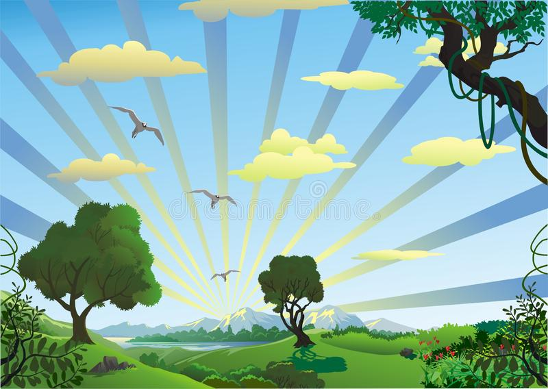 Landscape - trees in the morning on the hill. Mountain range. Nature countryside. stock illustration
