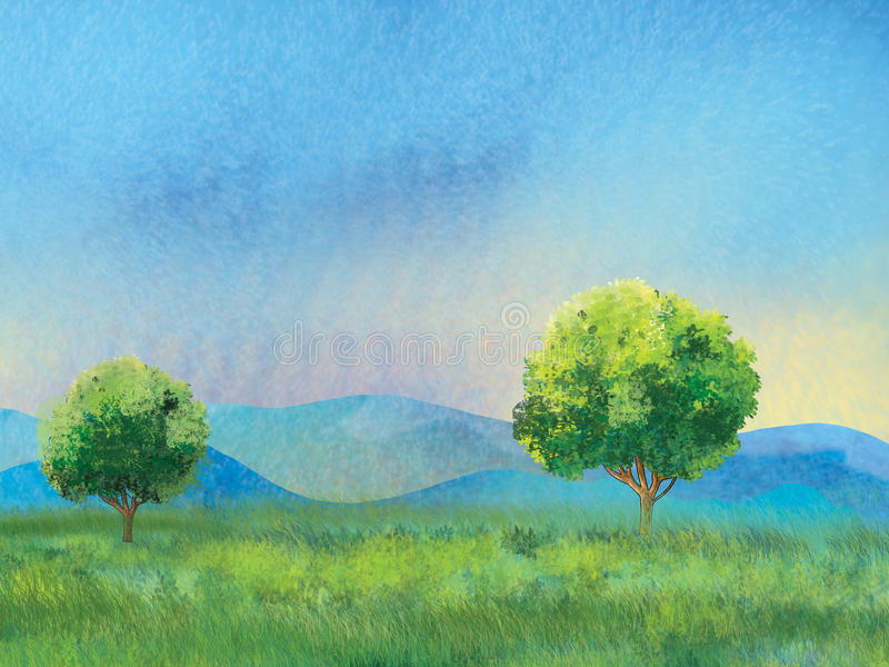Landscape mountain trees green grass and sky vector illustration
