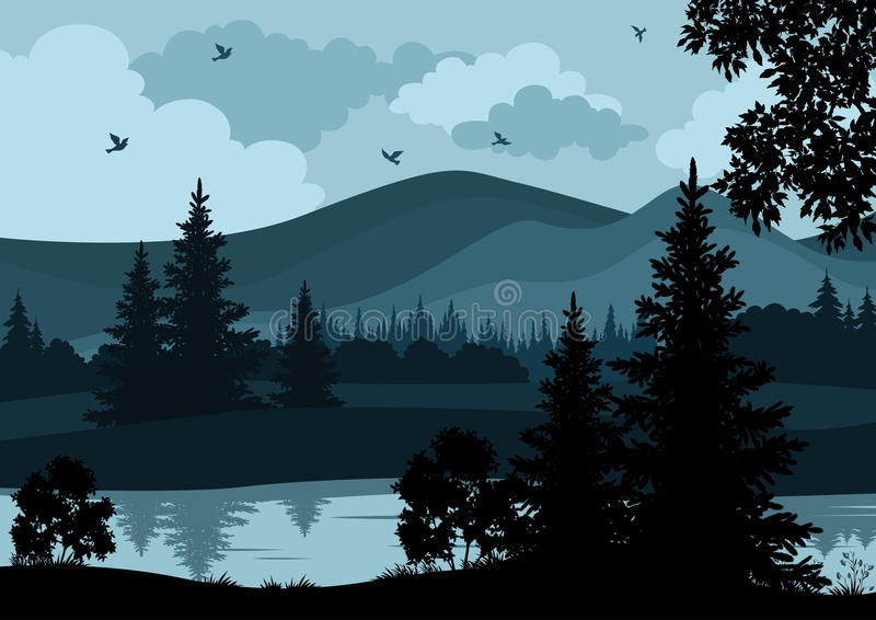 landscape trees river and mountains stock vector image