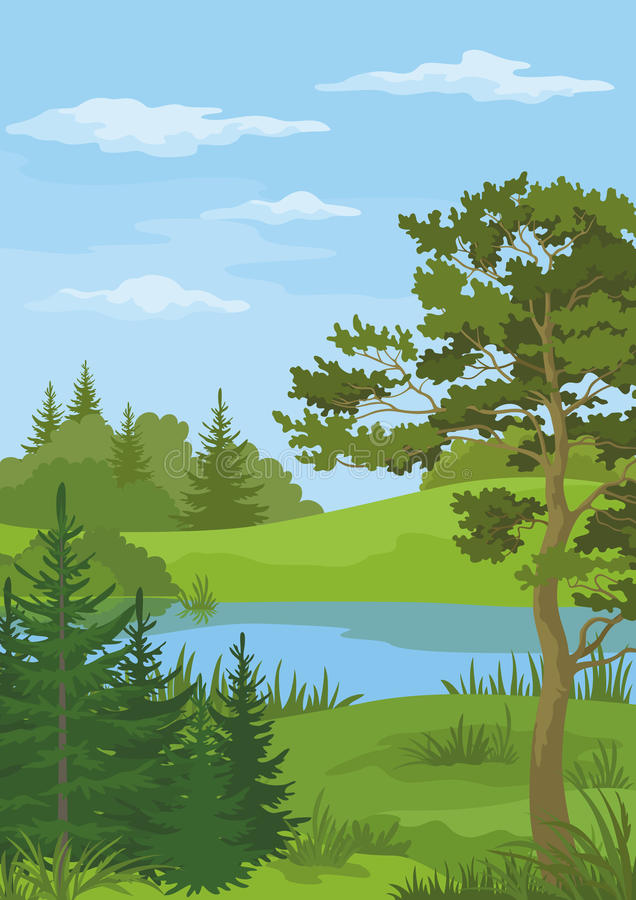 Landscape with Trees and River vector illustration