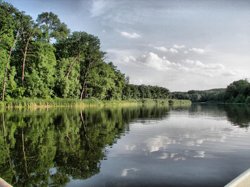 Landscape. Trees and river stock photos