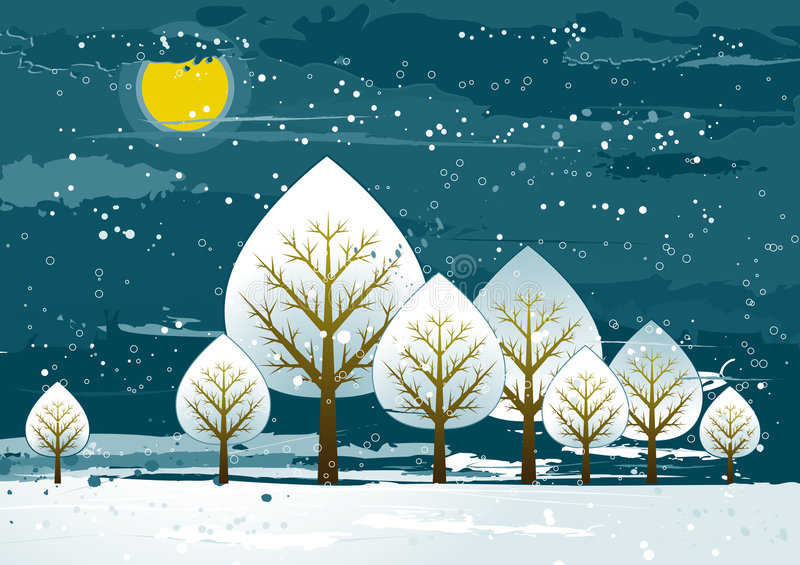 Landscape with trees, vector stock illustration