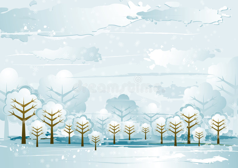 Landscape with trees, vector royalty free illustration