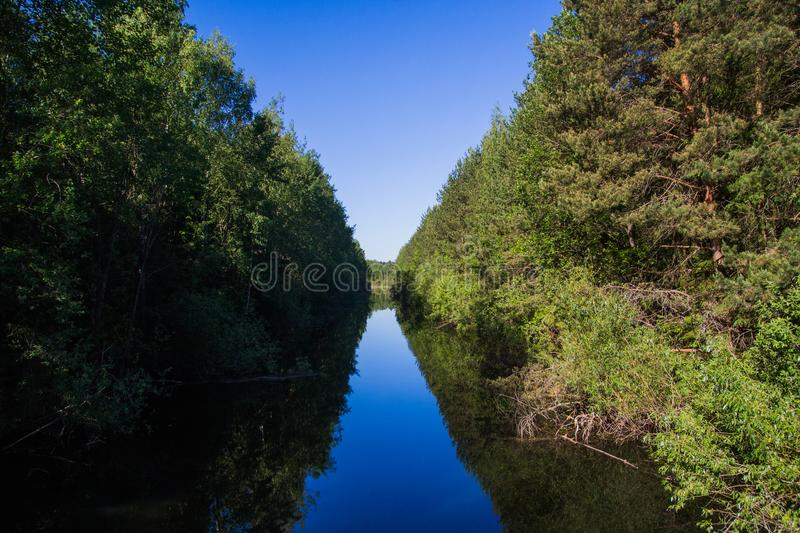 Landscape, bright day. Trees, water, bright sky royalty free stock images