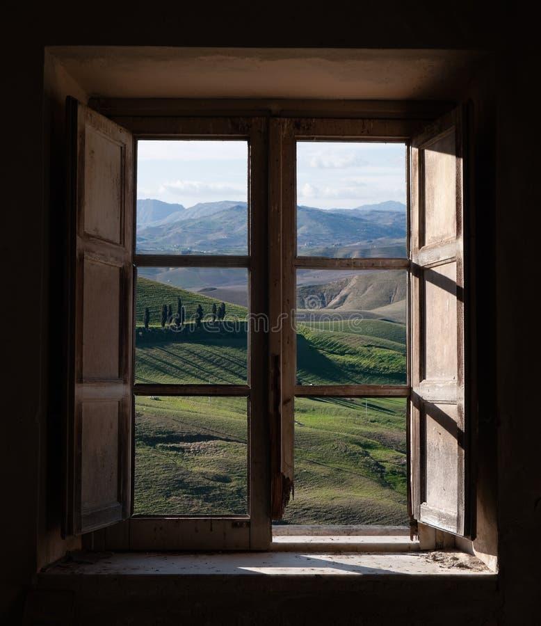 Landscape trough the window stock images