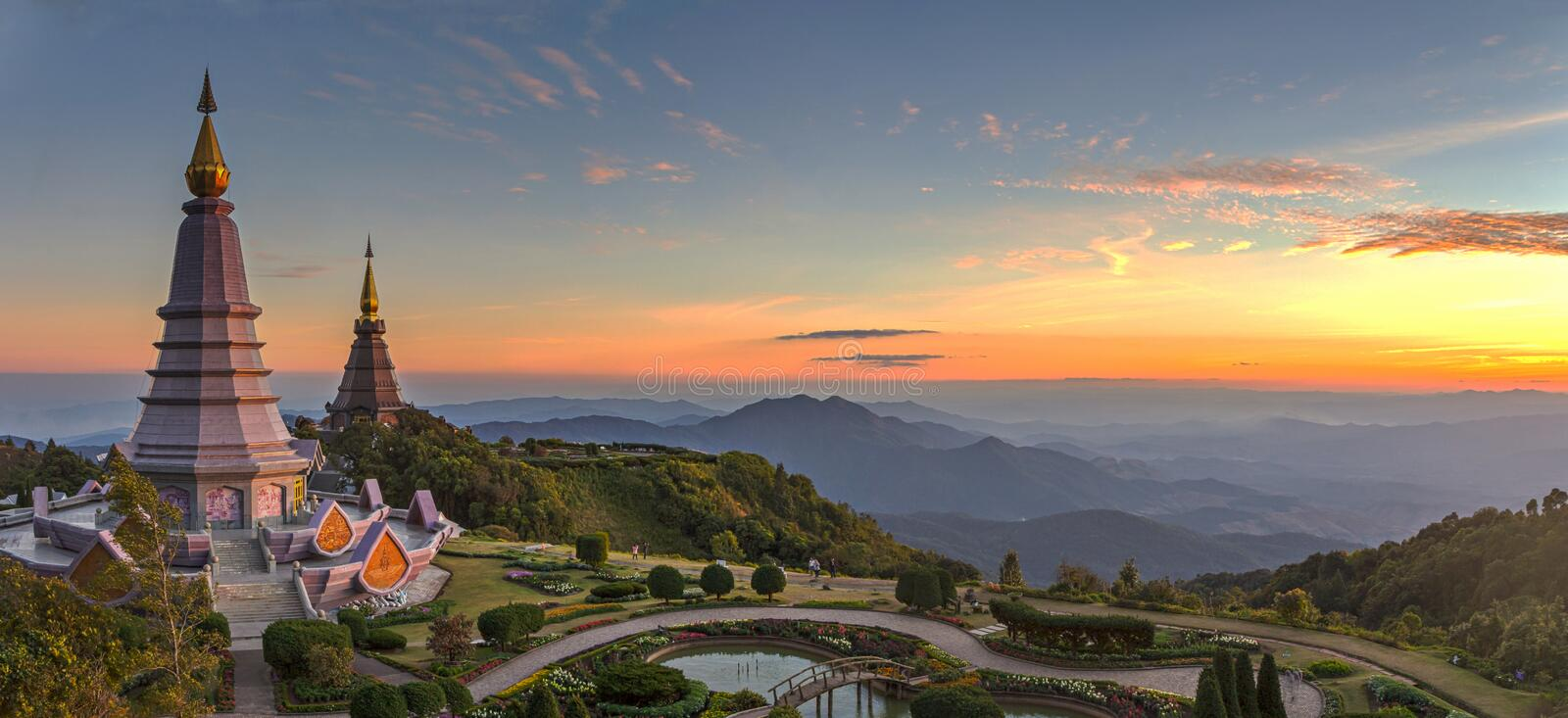 Landscape of two pagoda in an Inthanon mountain, chiang mai, Thailand stock photos