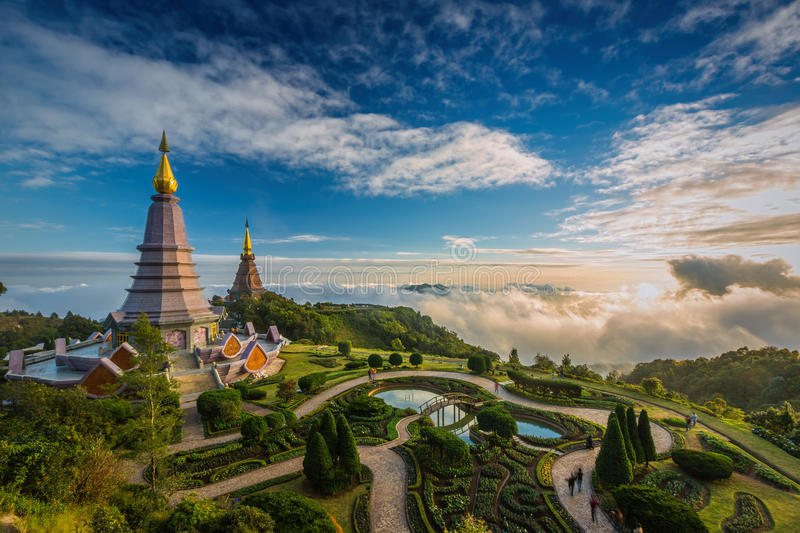 Landscape of two pagoda on the top of Inthanon mountain, Chiang. Mai, Thailand stock photo