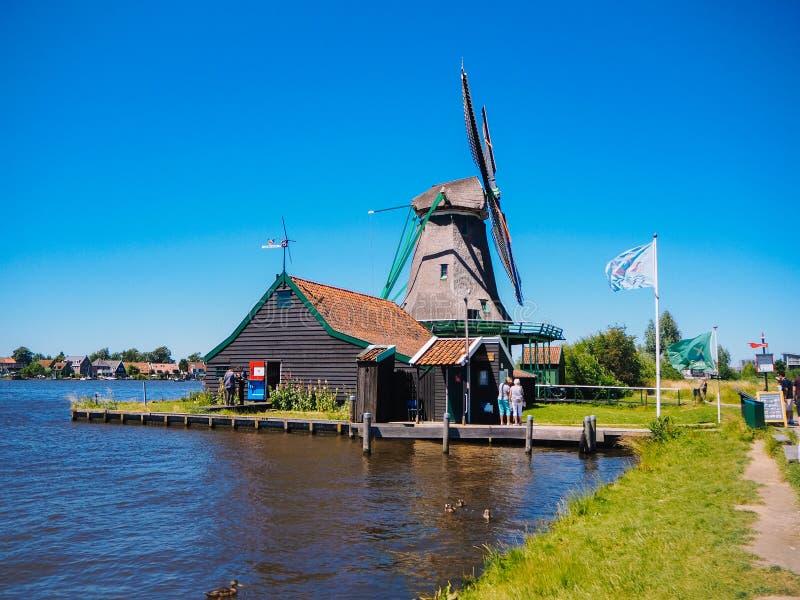 Landscape with typical dutch windmill village Zaanse Schans in Zaandam, Netherlands stock images