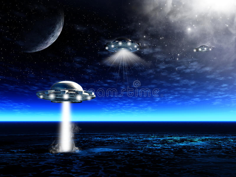 Landscape with UFO royalty free stock image