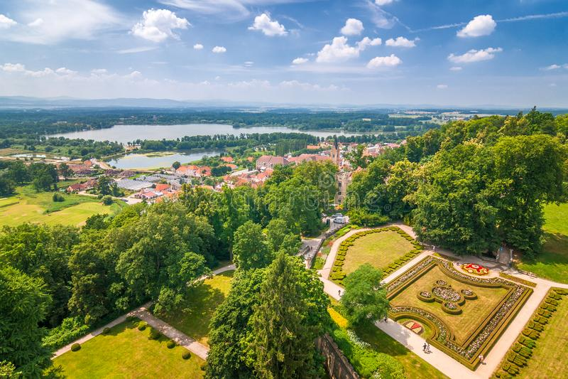 Landscape under chateau Hluboka with a beautiful park stock image