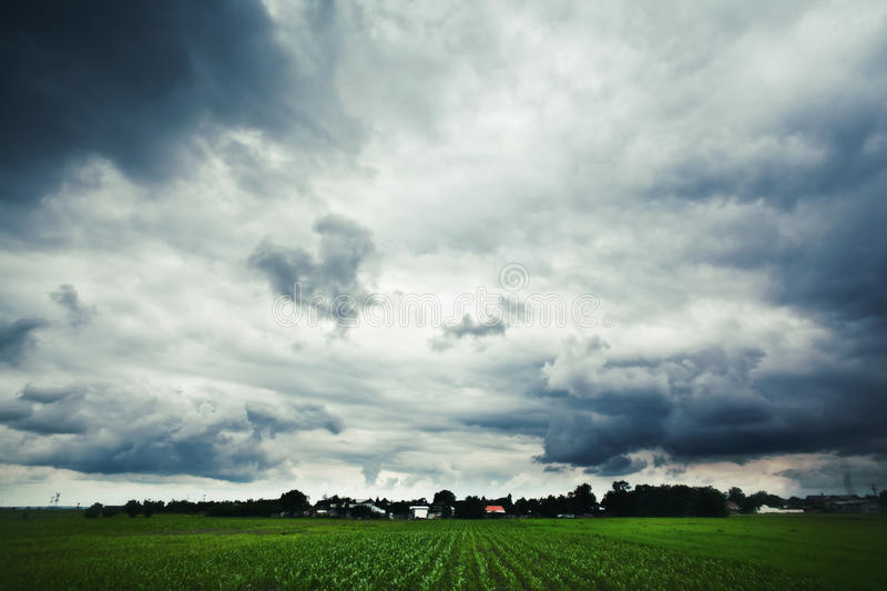 Landscape under cloudy weather. Green landscape under cloudy weather stock images