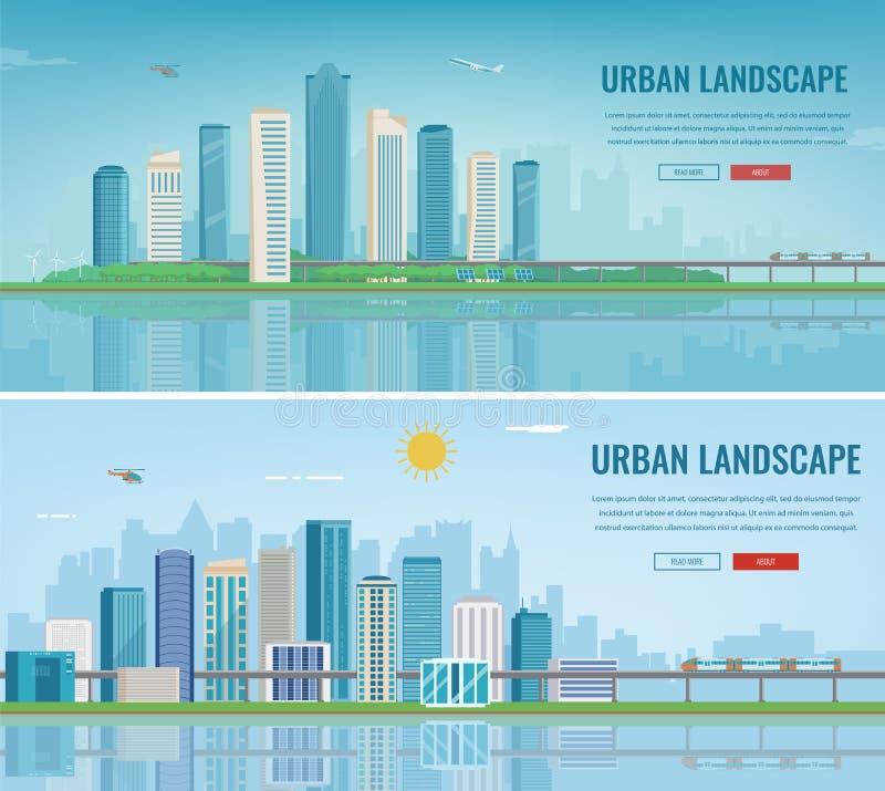 landscape urban πόλη σύγχρονη Αρχιτεκτονική οικοδόμησης, πόλη εικονικής παράστασης πόλης Πρότυπο ιστοχώρου έννοιας διάνυσμα ελεύθερη απεικόνιση δικαιώματος