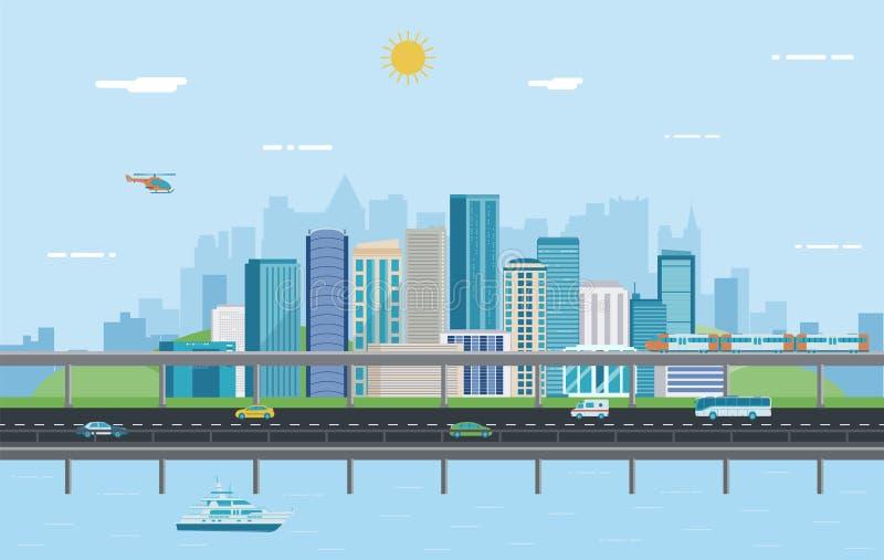 landscape urban πόλη σύγχρονη Αρχιτεκτονική οικοδόμησης, πόλη εικονικής παράστασης πόλης διάνυσμα απεικόνιση αποθεμάτων