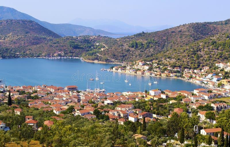 Landscape of Vathy in Ithaca island. Greece stock photos