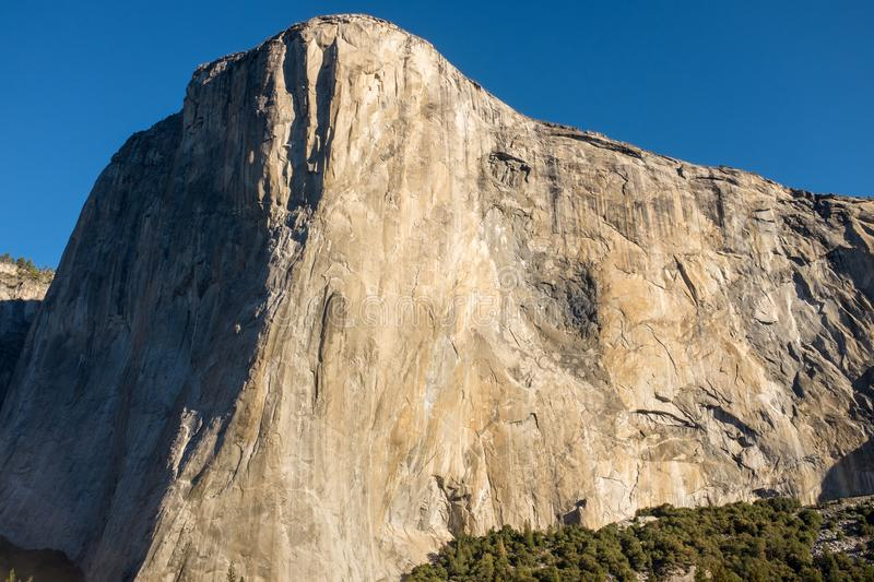 A landscape view of the amazing El Capitan from the canyon floor at Yosemite National Park, USA against a beautiful bright blue stock photography