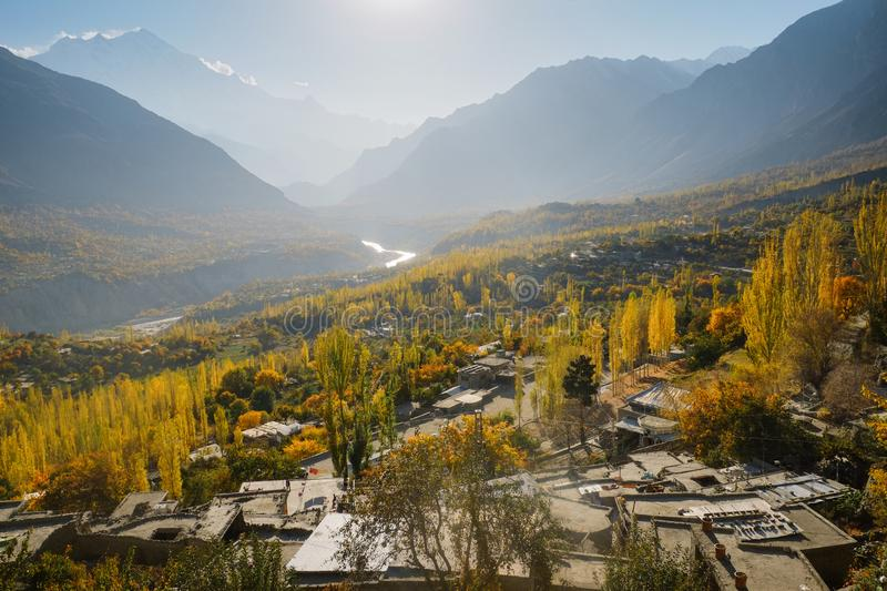 Landscape view of autumn in Hunza valley, Gilgit-Baltistan, Pakistan. royalty free stock image