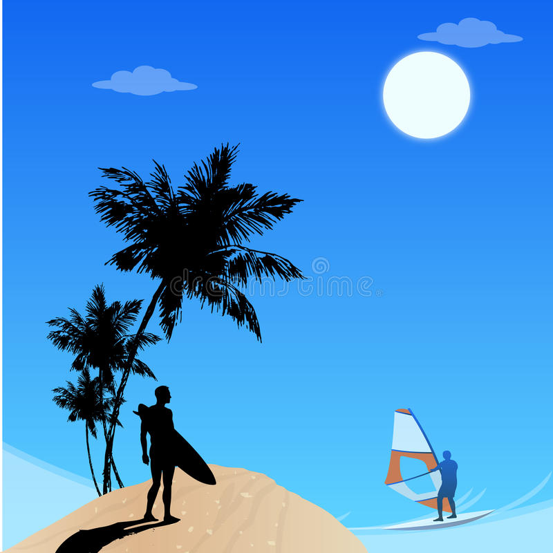 Landscape view of beach stock illustration