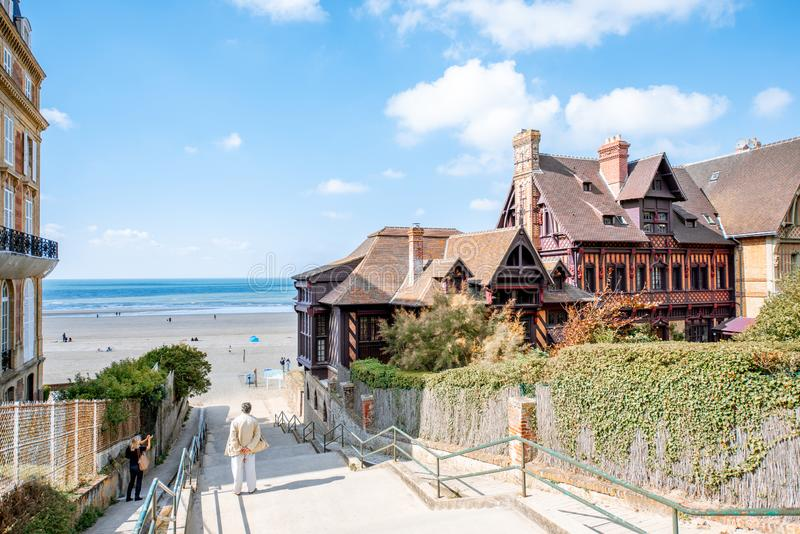 Landscape view on the beach in Trouville resort, France royalty free stock photos