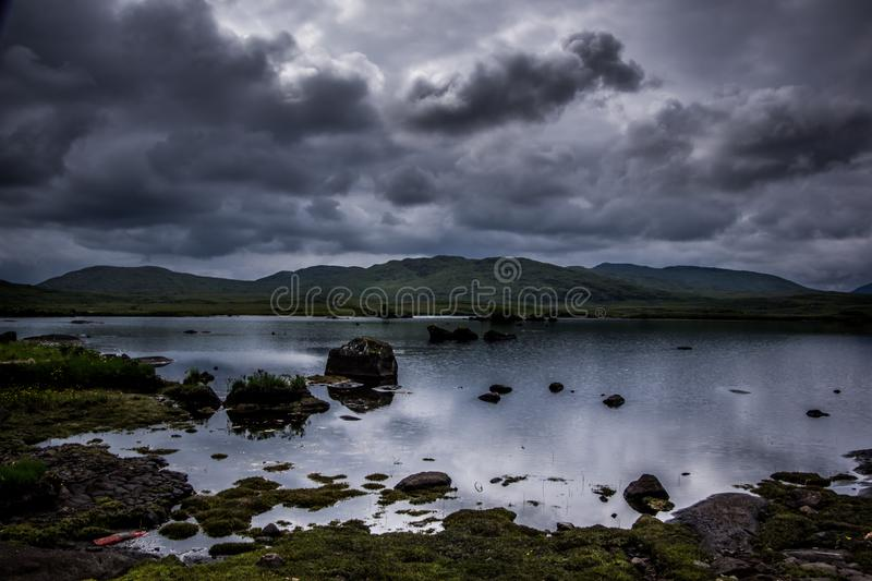 Landscape view of blue lake and dark cloudy sky above. Ireland stock photo