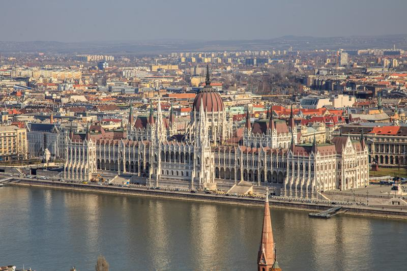 A landscape view of Budapest city in the evening, the Hungarian parliament building and otherr buildings along Danube. River, Hungary stock photo