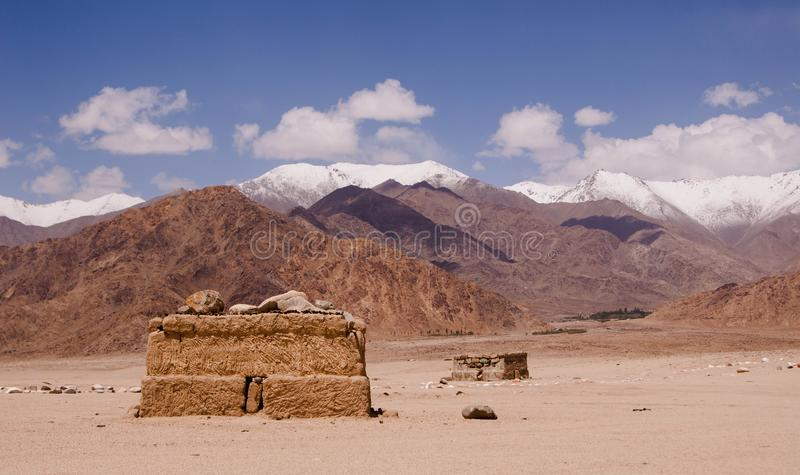 Landscape view with buddhist ruins in highland desert in Ladakh. India.State Jammu and Kashmir royalty free stock images