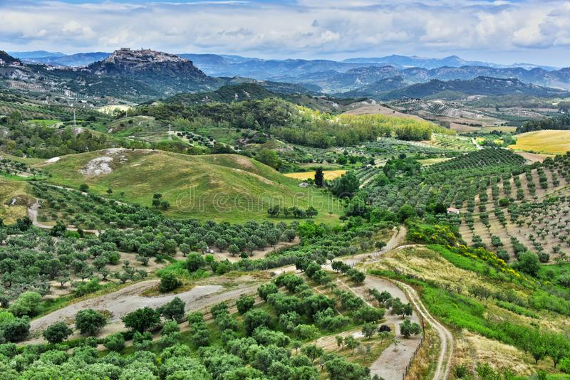 Landscape view of Calabria, in the Province of Crotone, Italy. Landscape view of Calabria, in the Province of Crotone near the town of Santa Severina, Italy royalty free stock photos