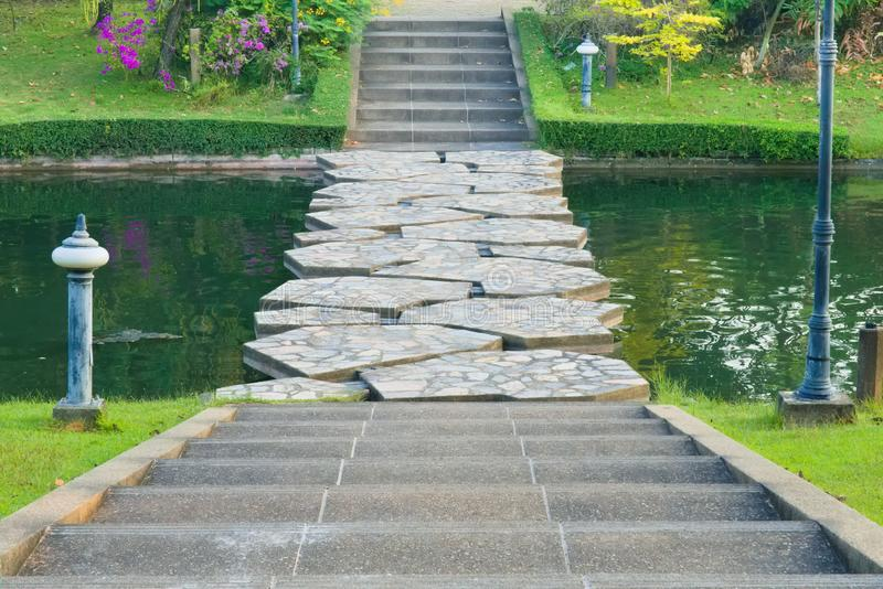 Landscape view of cement steps, leading down towards a canal stone bridge, and beyond into a lovely garden park. royalty free stock photo