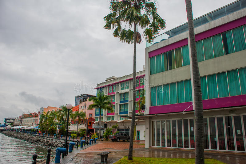 Landscape view of the Central promenade. Sandakan city, Borneo, Sabah, Malaysia. Landscape view of the Central promenade Sandakan city, Borneo, Sabah, Malaysia royalty free stock images