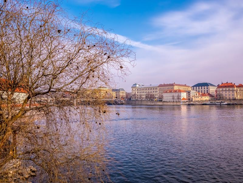 Landscape view from charles bridge with boat and ship Vltava river beautiful old town prague . czech republic. royalty free stock images