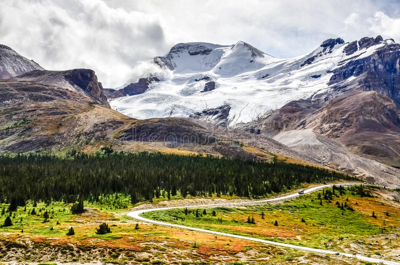 Landscape view of Columbia glacier in Jasper NP, Canada. Landscape view of Columbia glacier in Jasper NP, Rocky Mountains, Canada royalty free stock photos