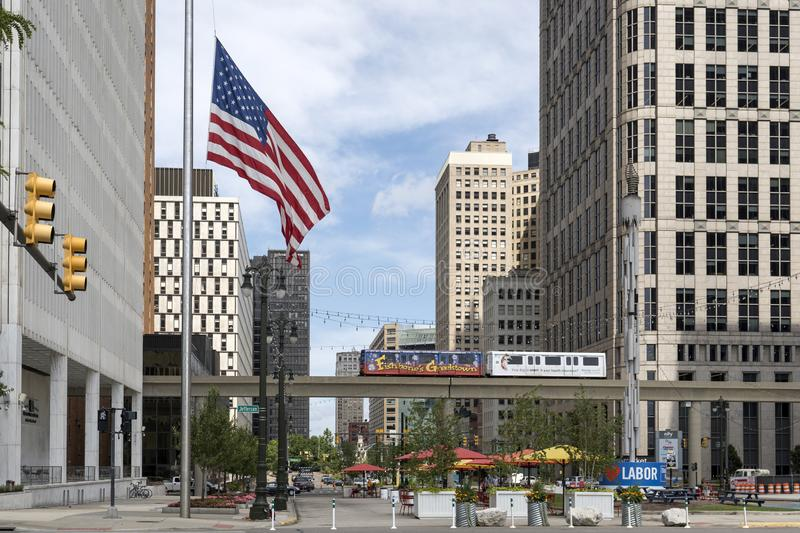 Landscape view of downtown Detroit in Michigan USA stock images