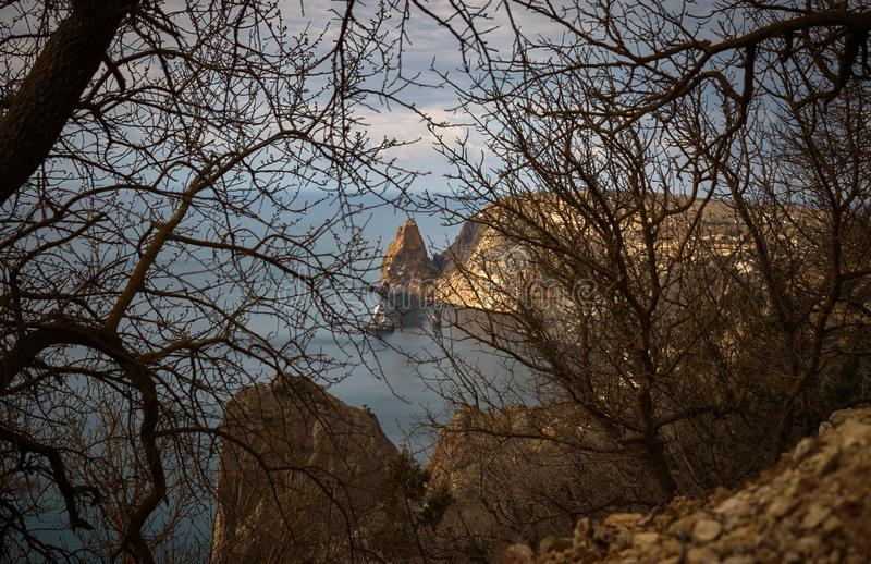 Landscape with a view of Fiolent cape near the St.George monastery. In the Crimea royalty free stock photography