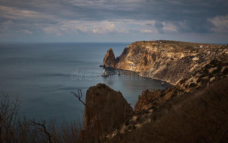 Landscape with a view of Fiolent cape near the St.George monastery. In the Crimea stock image