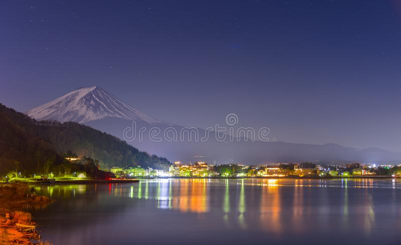 landscape view of Fuji Mountain and Kawaguchiko lake at night from Yamanashi Prefecture, Japan. stock photography