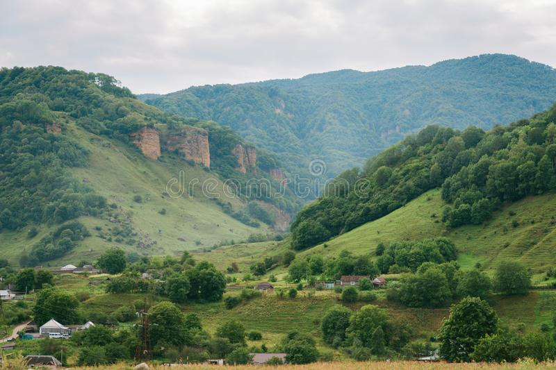 Landscape. View of the green valley among the mountains.  stock image