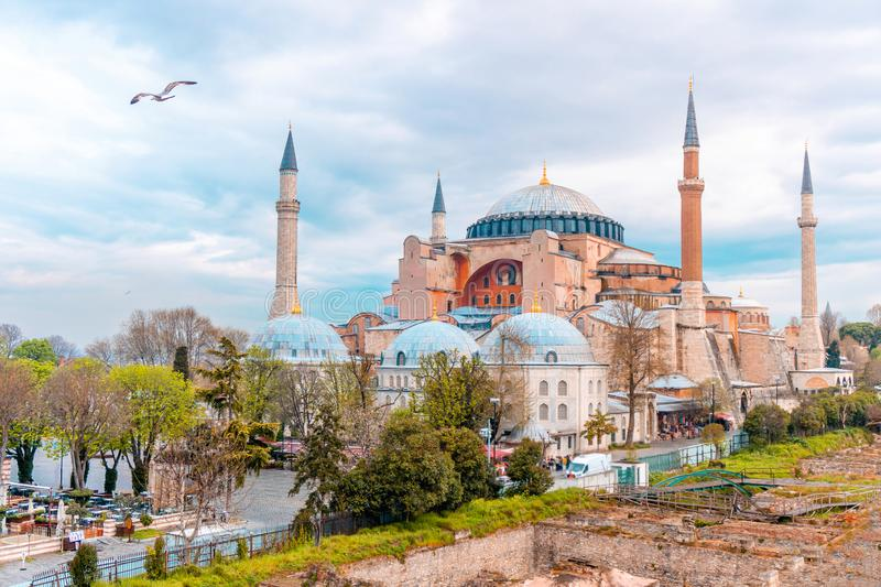 Landscape View of Hagia Sophia in Istanbul, Turkey.  royalty free stock photography
